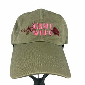Green Army Wife Girls USA Military Embroidered Hat